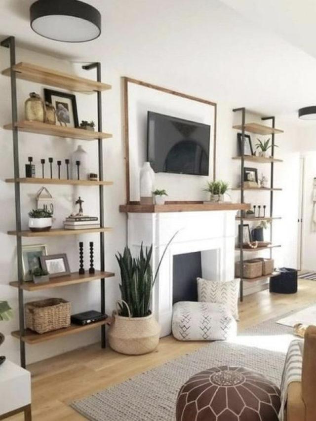 quel style salon lumineux ambiance classique et élégante etagère minimaliste et cheminée