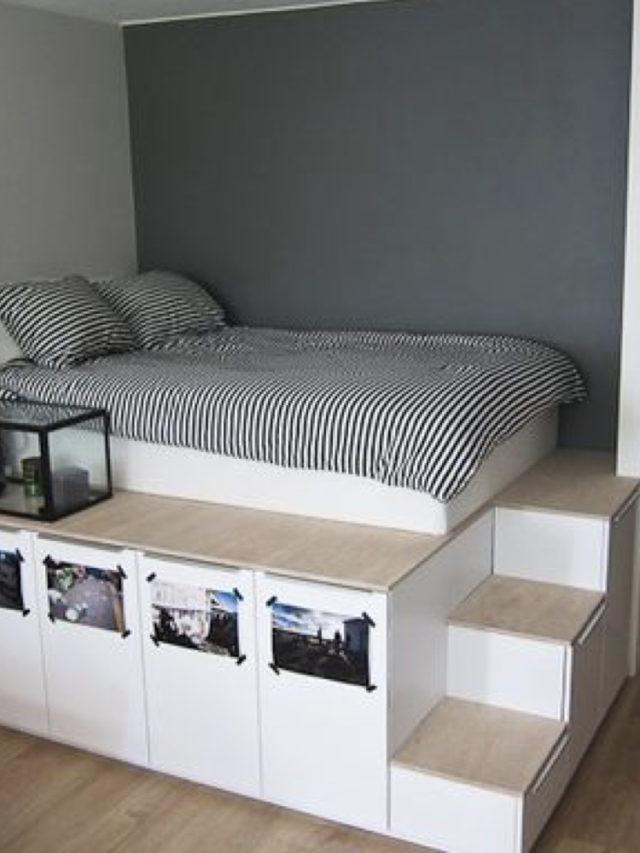 rangement aménagement combles exemple estrade pour lit