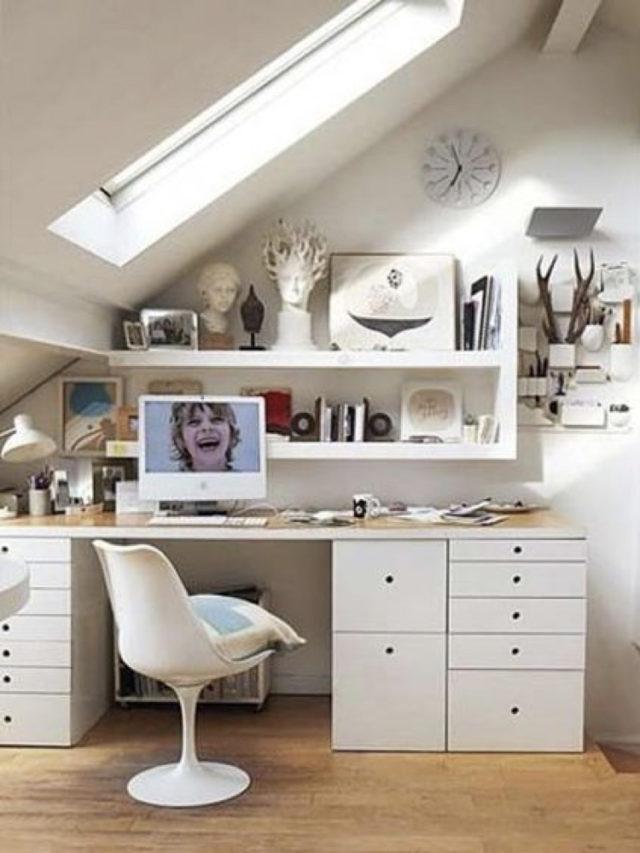 rangement aménagement combles exemple bureau et étageres murales