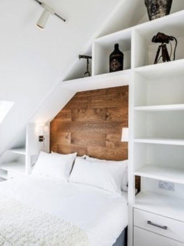 rangement aménagement combles exemple moderne blanc et bois
