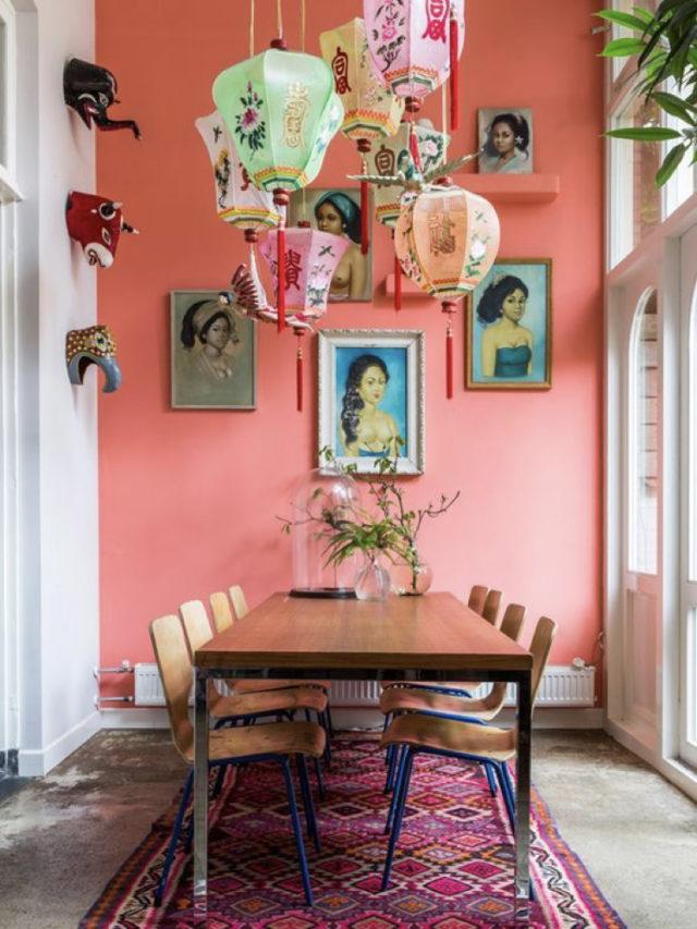 salle a manger style arty exemple couleur rose peinture murale luminaire en papier japonais