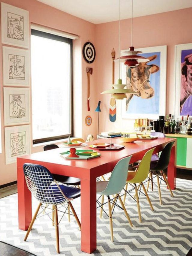 salle a manger style arty exemple table repas rouge chaises eames colorées peinture corail