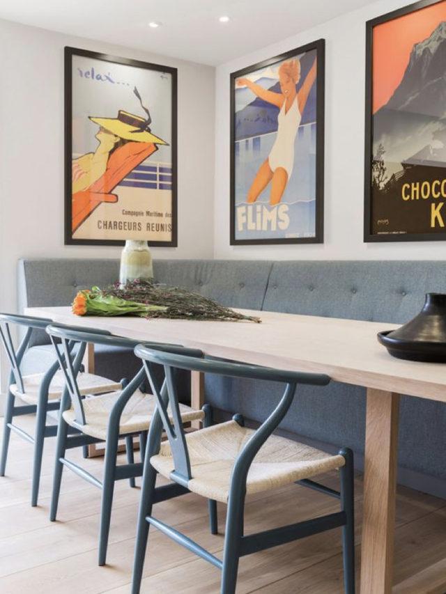 salle a manger style arty exemple banquette bleue affiche vintage publicité