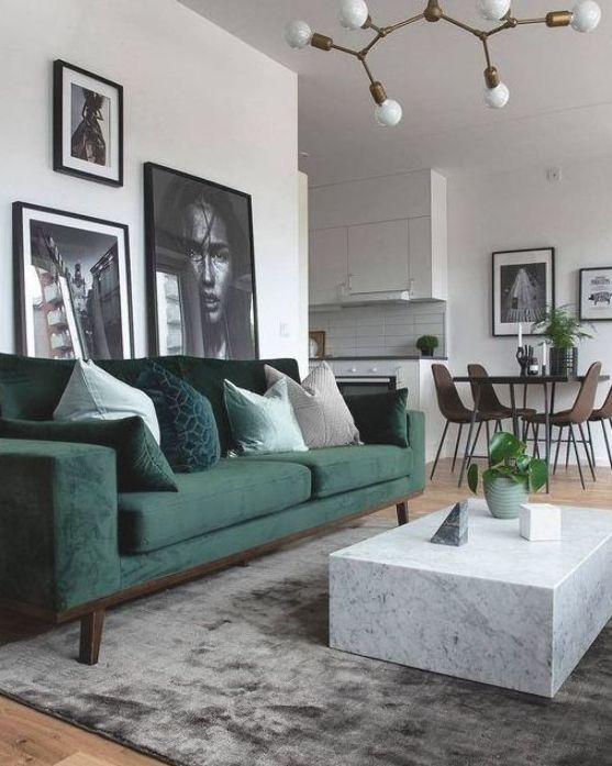 salon blanc style nordique exemple canapé vert
