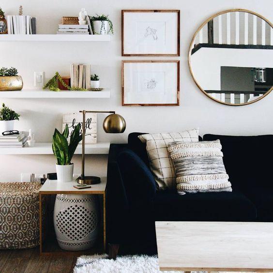 salon blanc style nordique exemple canapé noire