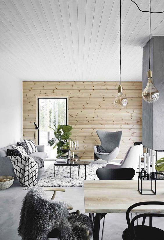 salon blanc style nordique exemple bois lambris