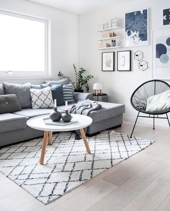 salon blanc style scandinave canapé gris
