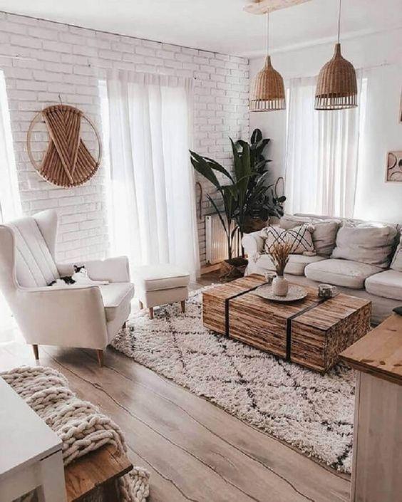 salon blanc style scandinave bois