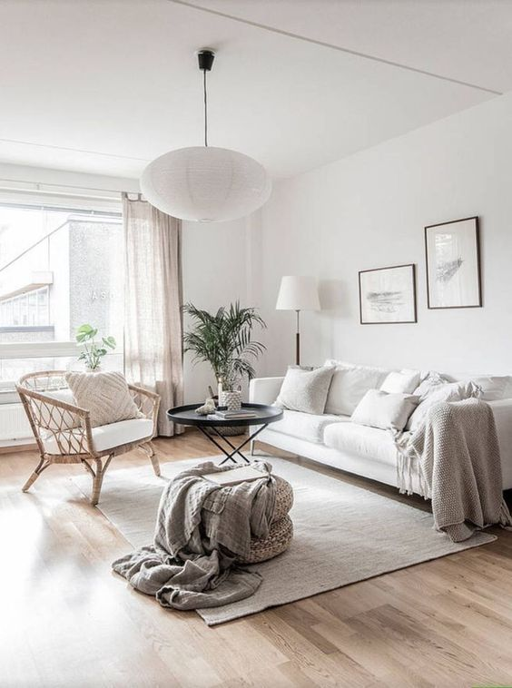 salon blanc style scandinave canapé blanc