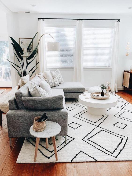 salon blanc style scandinave tapis berbere