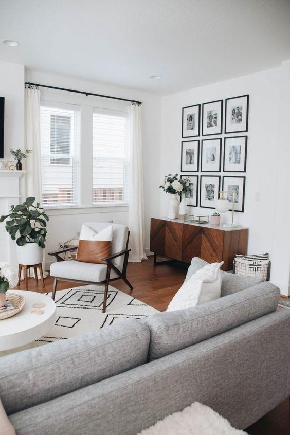 salon blanc style scandinave meuble mid century