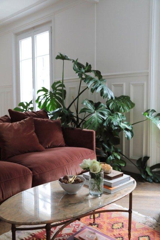 salon blanc style urban jungle exemple canape marron et plantes