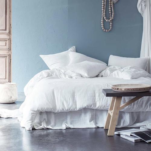 shopping deco chambre blanc linge de lit uni