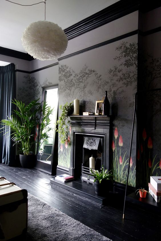 style classique chic cheminee sombre