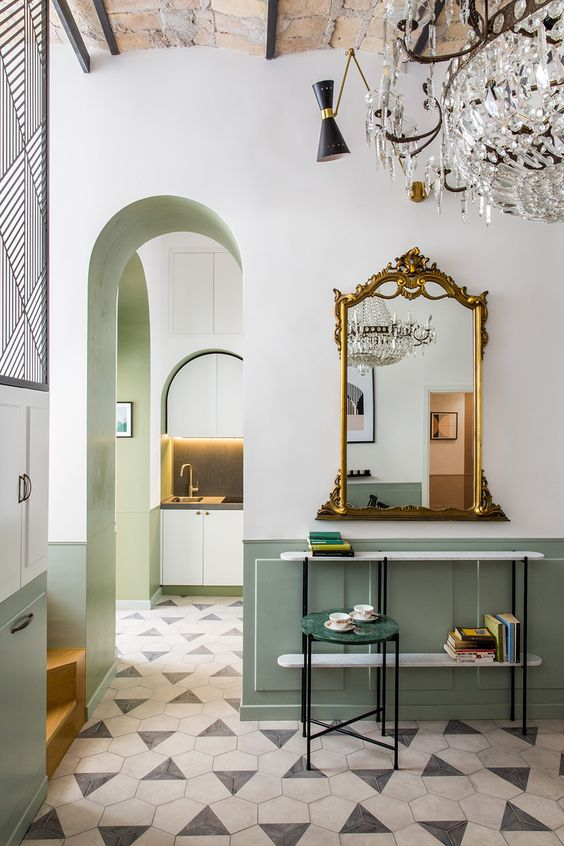 style classique chic soubassement vert celadon
