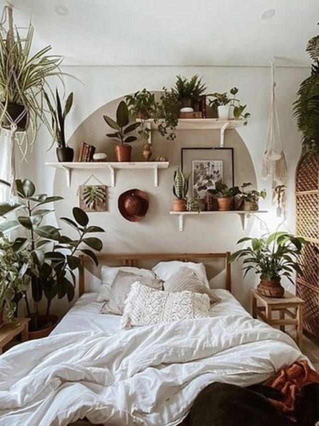 style nature chambre moderne peinture murale exemple + plantes vertes