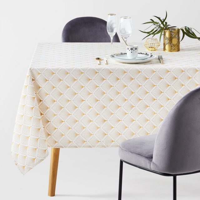 table noel deco glamour nappe motif or