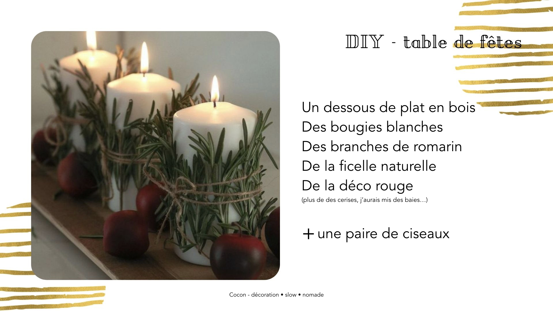 DIY centre de table noel bougies facile