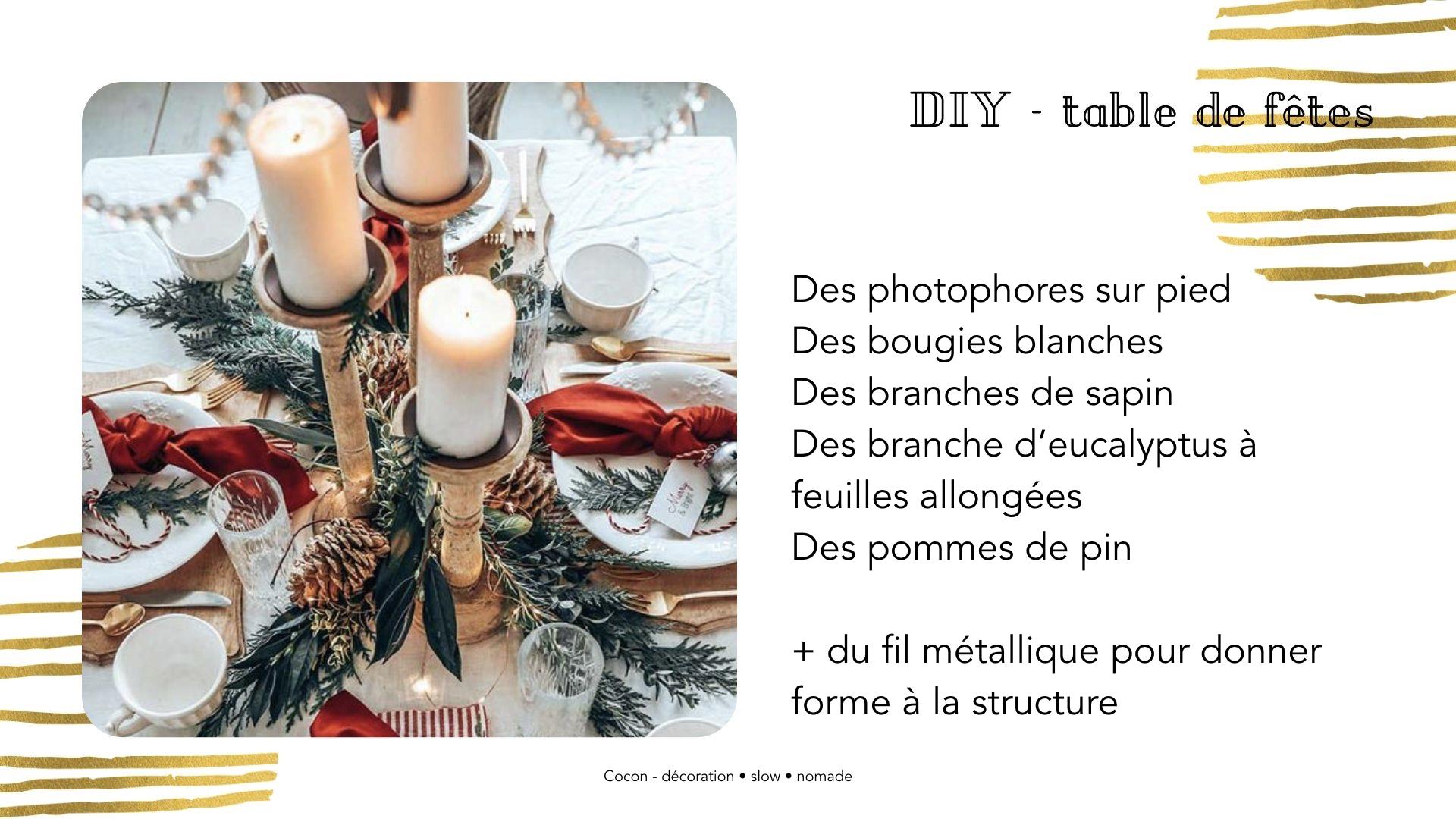 DIY centre de table noel photophore sur pied + branche sapin + pomme de pin