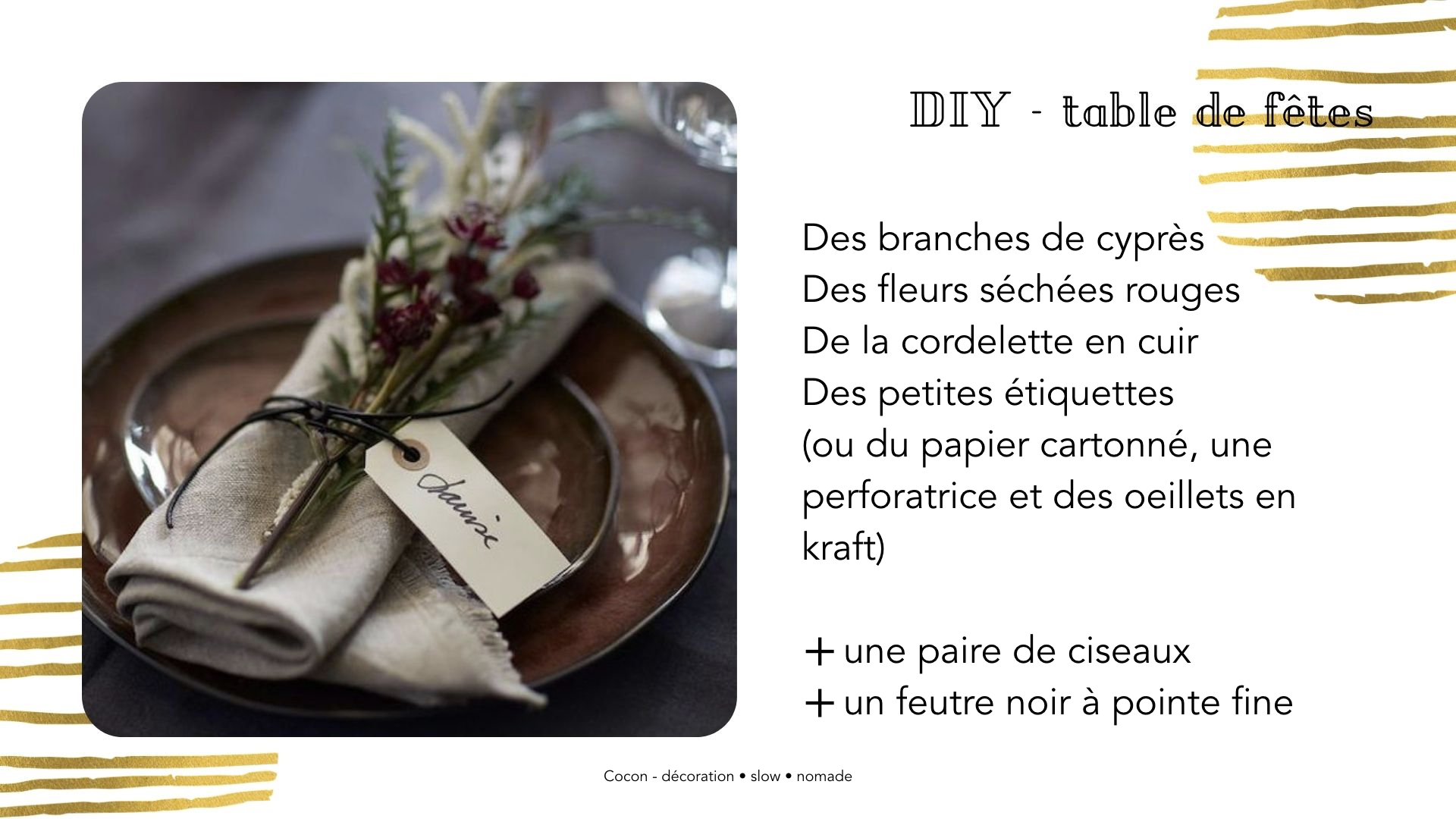 DIY table noel Marque-place facile et naturel pour les fêtes