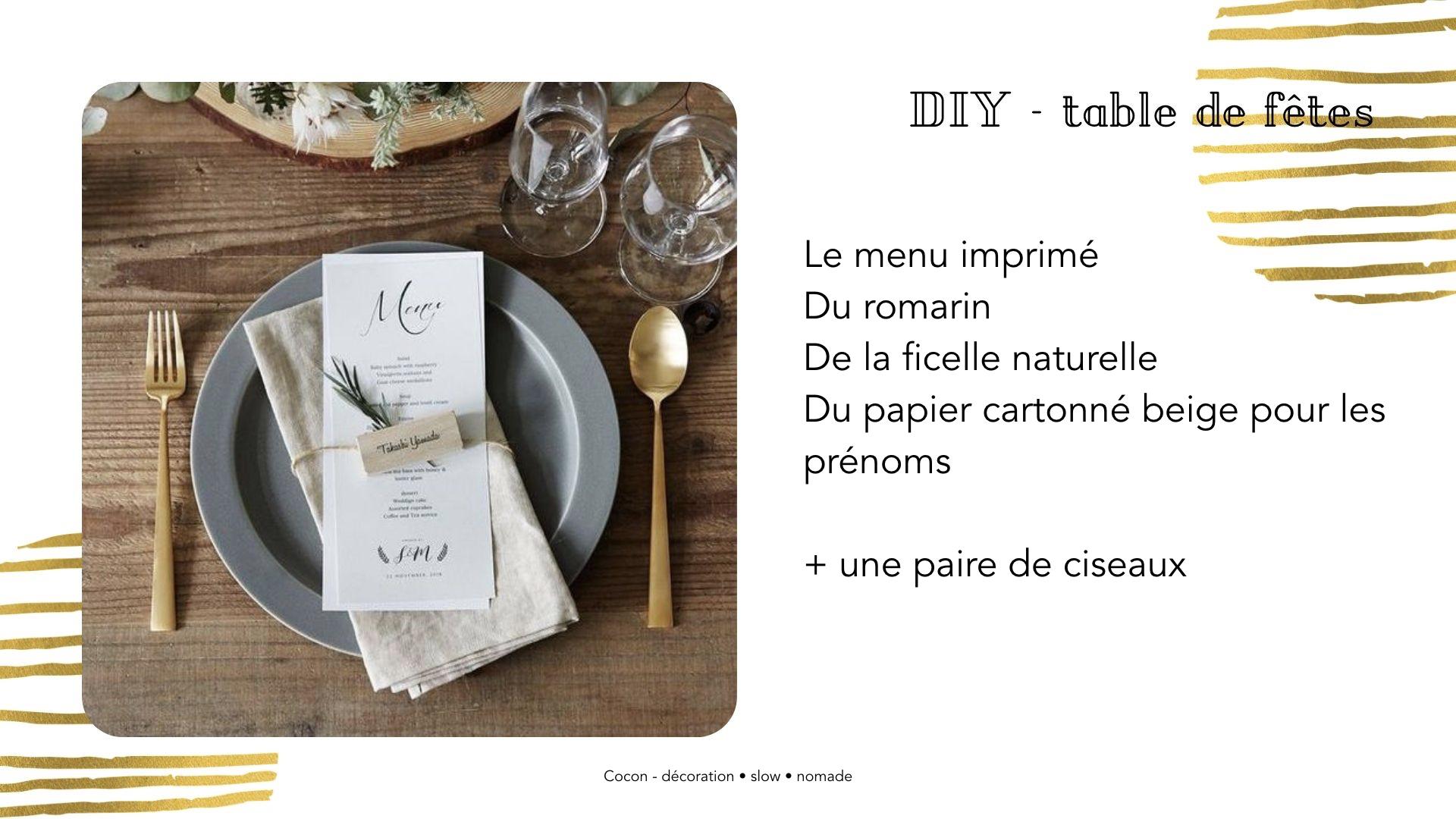 DIY table noel Marque-place avec menu pour noël