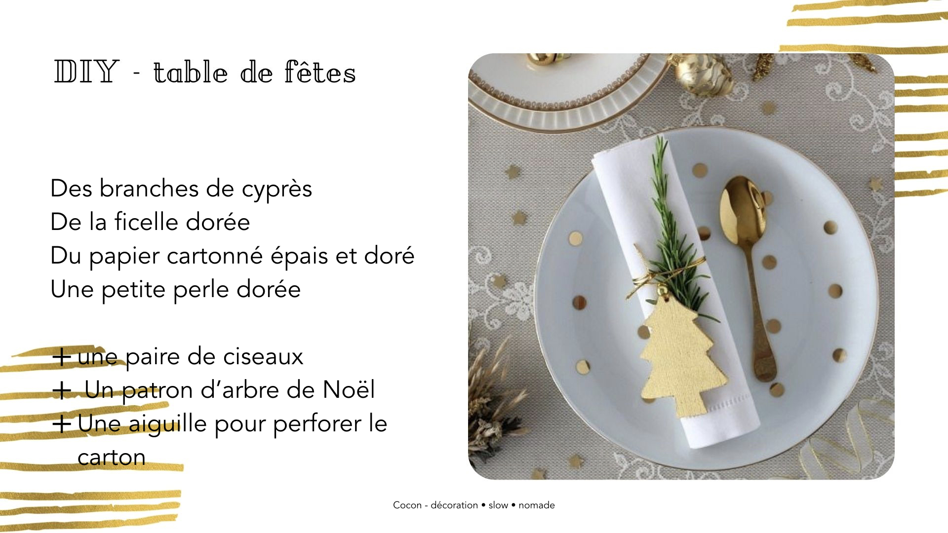 DIY table noel rond serviette facile sapin décoration dorée