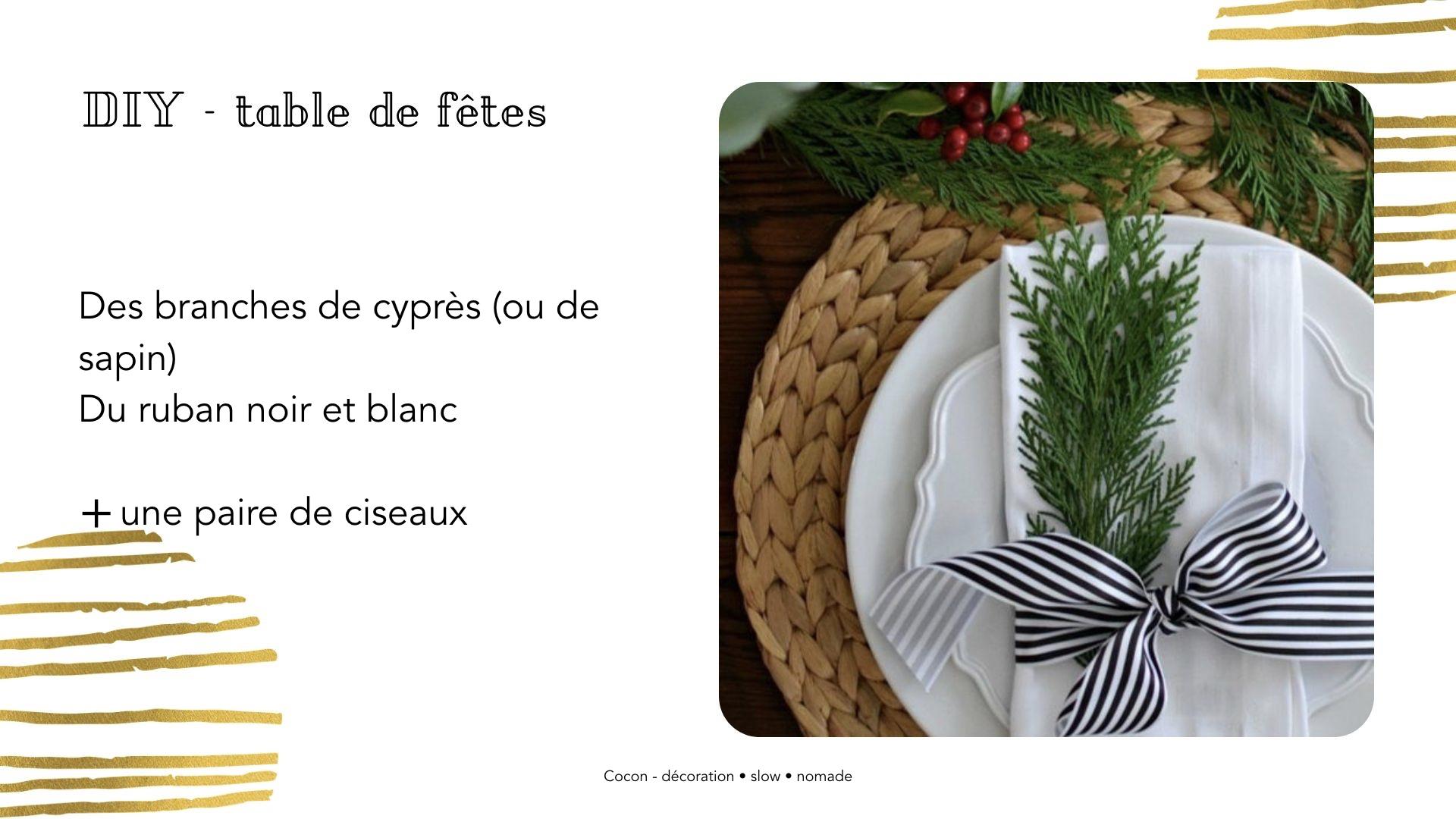 DIY table noel rond serviette branche cyprès et ruban tuto rapide