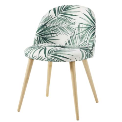 accessoire deco pas cher salle a manger chaise imprimé tropical