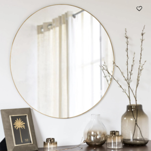 accessoire deco pas cher salle a manger grand miroir rond doré