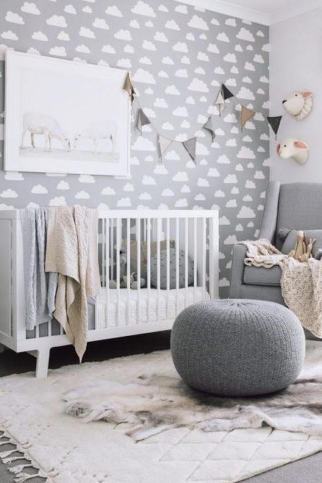 ambiance neutre chambre bebe exemple nuage sur fond gris
