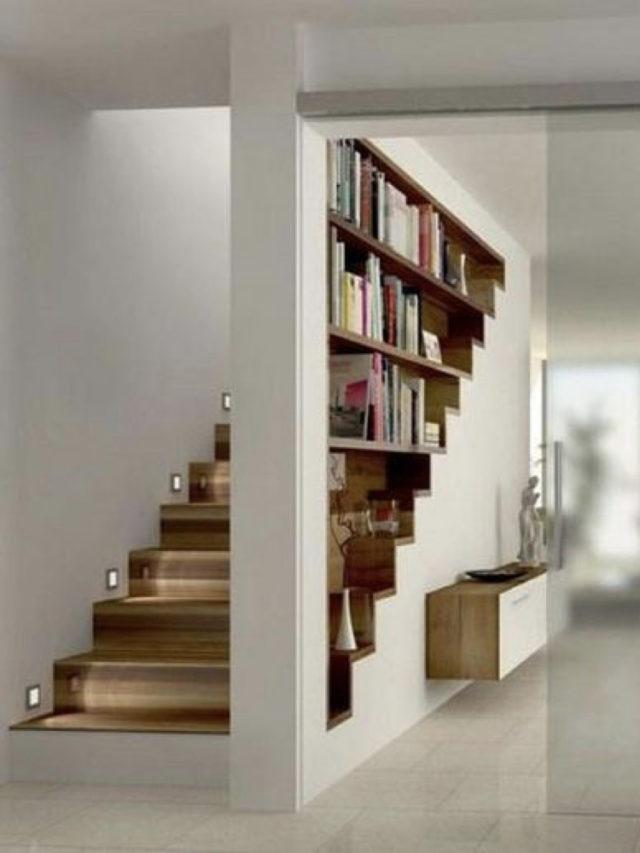 amenagement sous escaliers exemple bibliothèque architecture intérieure