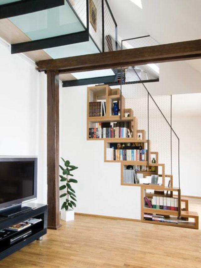 amenagement sous escaliers exemple bibliothèque architecture intérieure gain de place