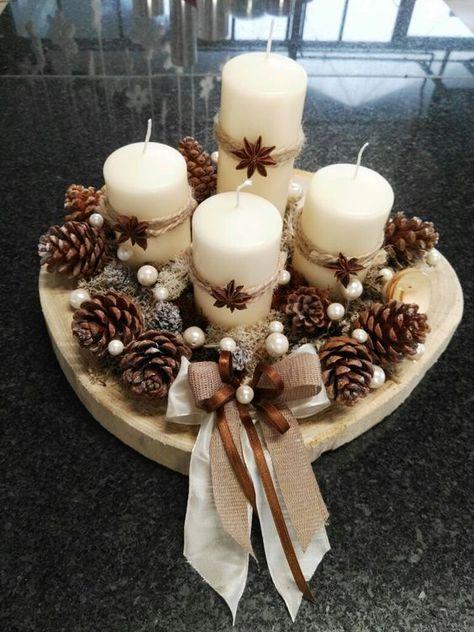 centre table deco noel DIY bougies et pommes de pin