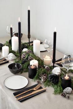 centre table deco noel DIY sapin et bougies noir et blanc