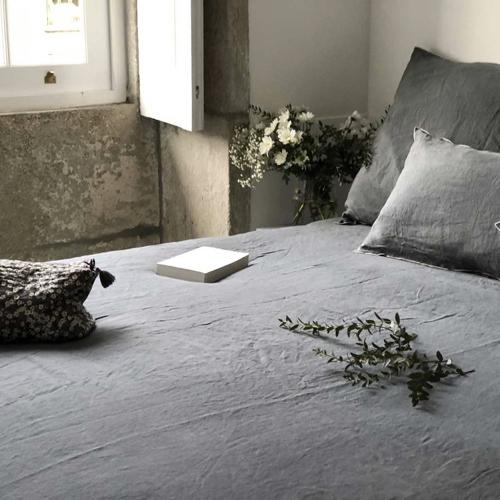 chambre cosy housse de couette grise lin lavé anthracite