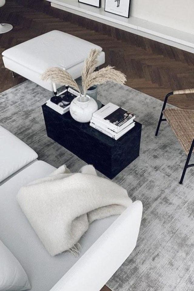 comment creer salon cocooning hiver tapis gris poil ras aspect velours