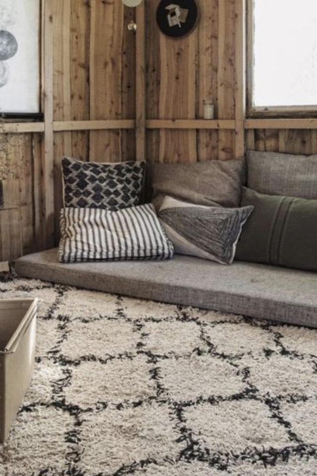 comment creer salon cocooning hiver tapis berbère tendance moderne