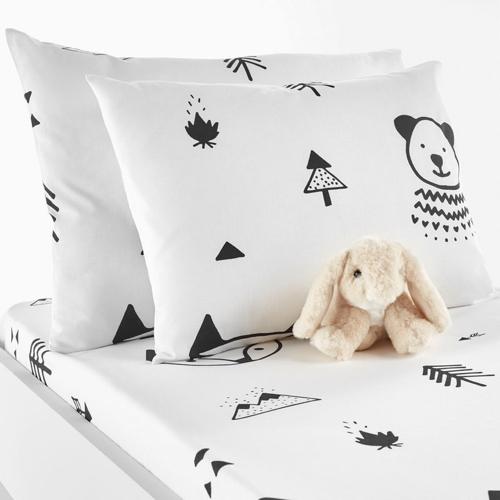 deco neutre bebe chambre pas cher parure de lit coussin noir et blanc moderne