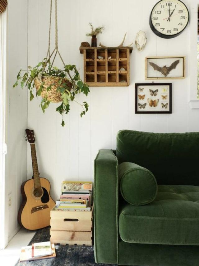 decorer avec guitare exemple salon canapé vert plante et livre