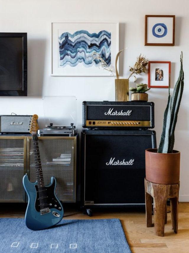 decorer avec guitare exemple intérieur rock ampli et guitare électrique