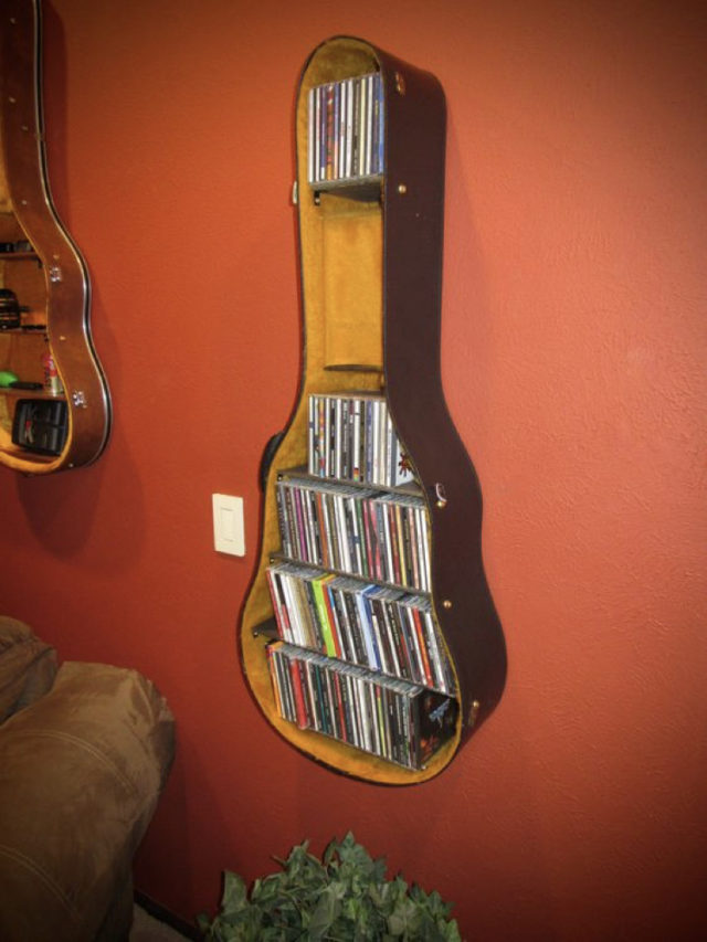 decorer avec guitare exemple étuit rangement mural