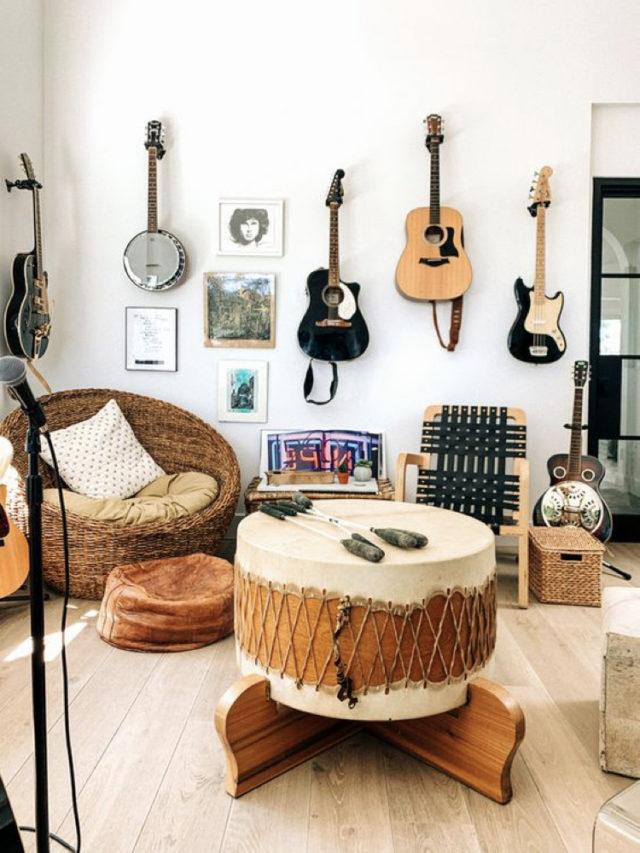 decorer avec guitare exemple décoration murale ambiance boheme