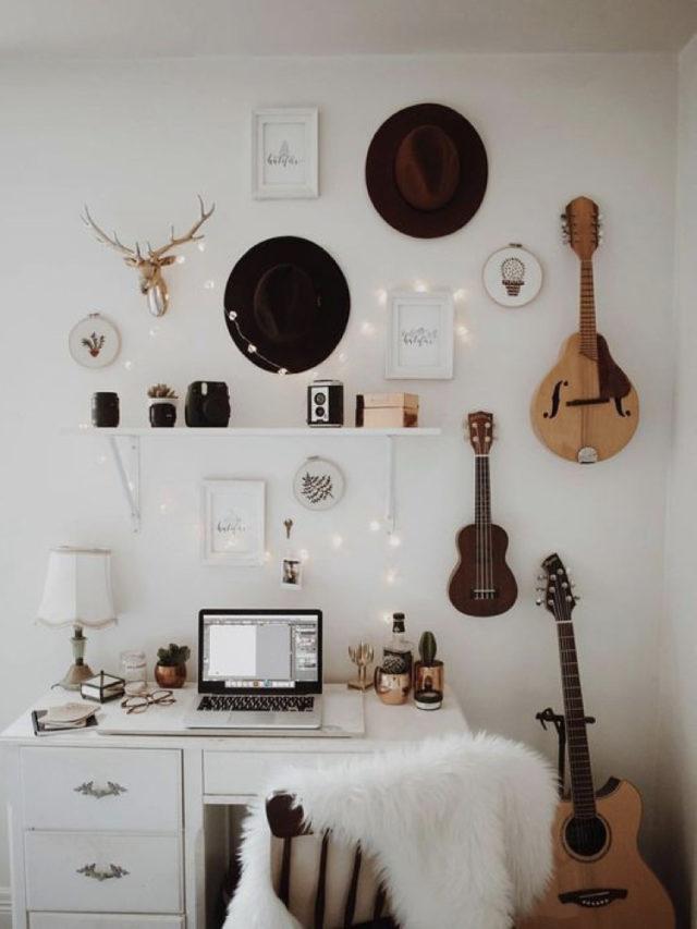 decorer avec guitare exemple bureau decoration murale moderne