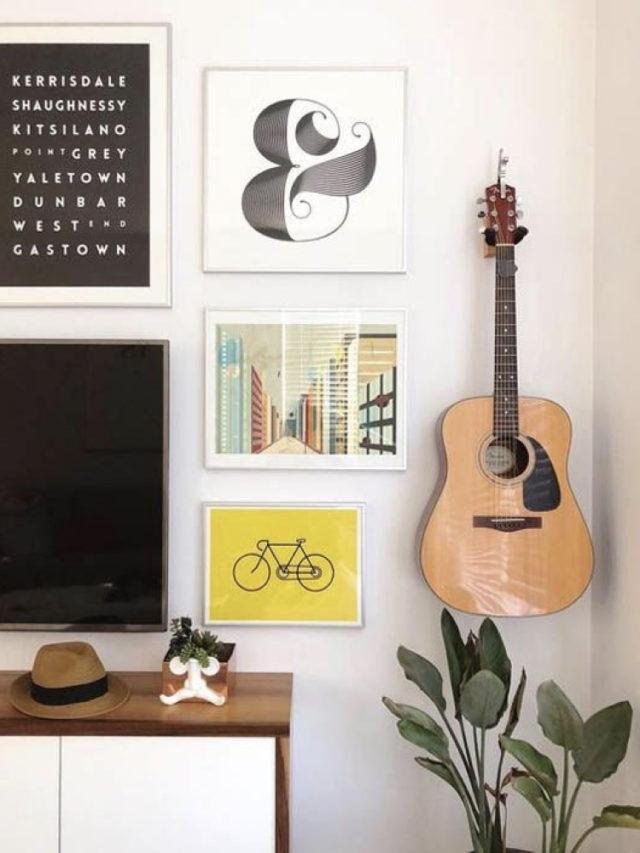 decorer avec guitare exemple mur de cadres illustration