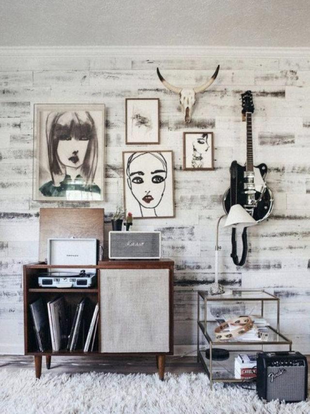 decorer avec guitare exemple style rock et clair decoration murale platine vinyle