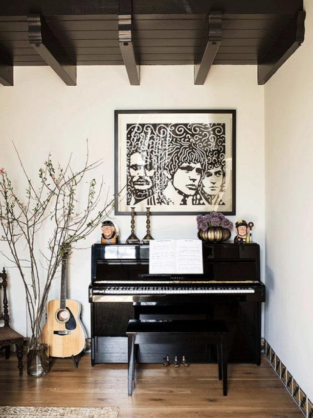 decorer avec piano exemple noir blanc guitare et grand poster