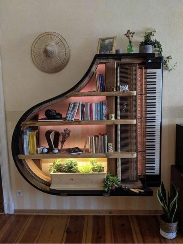 decorer avec piano exemple rangement étagère lumineuse