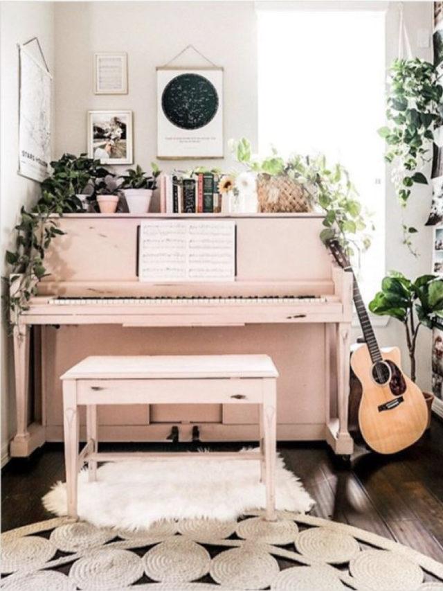 decorer avec piano exemple peinture rose pastel decor moderne plante et guitare