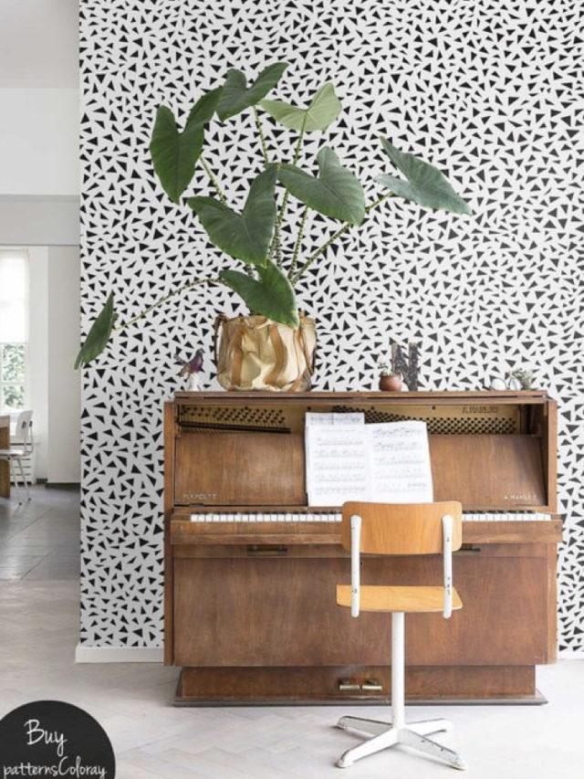 decorer avec piano exemple papier peint noir et blanc graphique grande plante verte