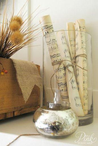 decorer passion musique exemple partition vase fleurs séchées